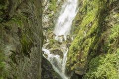 Una cascata nelle rocce con erba verde immagini stock