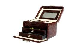 Una casella di cuoio di jewelery Immagine Stock