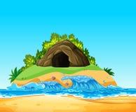 Una caverna di mistero sull'isola illustrazione di stock