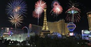 Una celebración en Bellagio y Las Vegas Blvd foto de archivo