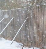 Una cerca hecha de la madera cae abajo y sus piernas traseras en el invierno Imágenes de archivo libres de regalías