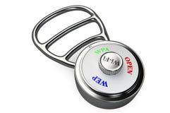 Una cerradura de combinación con el dial de los protocolos de la encripción Fotos de archivo libres de regalías