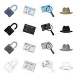 Una cerradura quebrada, una identificación detective del ` s, una lupa y una tarjeta de crédito, un sombrero Colección determinad Imagenes de archivo