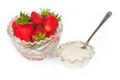 Una certa fragola dolce fresca con zucchero Fotografie Stock