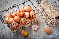 Una cesta de alambre negra llenó de los huevos marrones quebrados y de dos cestas vacías fotos de archivo
