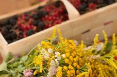 Una cesta llenó de bayas maduras y de un ramo de flores archivadas en una superficie de madera adornada con las caderas y las hoj Foto de archivo libre de regalías