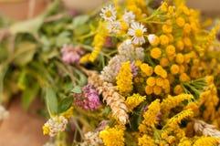 Una cesta llenó de bayas maduras y de un ramo de flores archivadas en una superficie de madera adornada con las caderas y las hoj Fotos de archivo libres de regalías