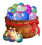 Una cesta por completo de huevos de Pascua
