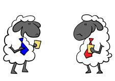 Una chiacchierata di due pecore dell'ufficio Immagine Stock Libera da Diritti