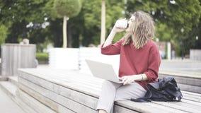 Una chica joven casual en el parque con un ordenador portátil Imagenes de archivo
