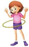 Una chica joven que juega el hulahoop Ilustración del Vector