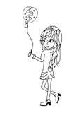 Una chica joven sostiene un globo en manos Imagen de archivo libre de regalías