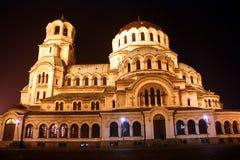 Una chiesa alla notte Fotografia Stock
