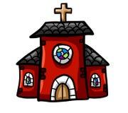 Una chiesa rossa ma sveglia illustrazione vettoriale