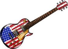 Una chitarra elettrica con la bandiera americana isolata su un fondo bianco illustrazione di stock