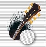 Una chitarra schiocca da un foro mentre le note si precipitano fuori Immagine Stock Libera da Diritti