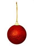 Una chuchería glittery roja de la Navidad aislada fotografía de archivo