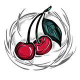 Una ciliegia matura stilizzata illustrazione vettoriale