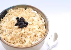 Una ciotola di cereale con i mirtilli Immagine Stock