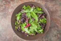 Una ciotola di insalata verde mista fresca su metallo ha strutturato il fondo Immagine Stock Libera da Diritti