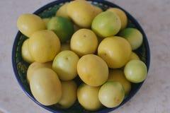 Una ciotola in pieno di limoni del bambino Fotografia Stock Libera da Diritti