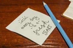 Una cita en un papel y corregirse imagen de archivo