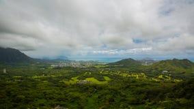 Vista all'allerta di Nuuanu Pali Fotografia Stock