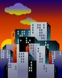 Una città delle costruzioni grige mentre il sole mette sull'orizzonte Illustrazione Vettoriale