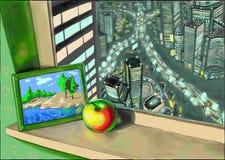 Una città di notte nella finestra con l'immagine della natura illustrazione vettoriale