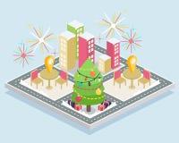 Una città durante il nuovo anno Fotografie Stock Libere da Diritti