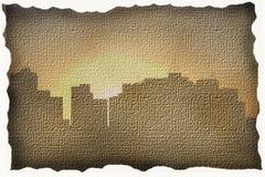 Una città moderna su tela di canapa Fotografie Stock Libere da Diritti