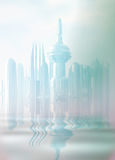 Una ciudad futurista en la niebla. Imágenes de archivo libres de regalías