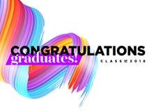 Una classe dei laureati di congratulazioni di logo di 2018 vettori Fotografia Stock Libera da Diritti
