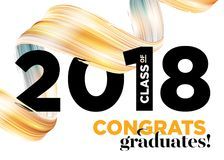 Una classe dei laureati di congratulazioni 2018 di vettore Logo Design Immagine Stock