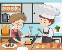 Una classe di cottura con il cuoco unico di Professinal royalty illustrazione gratis
