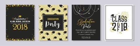 Una classe di graduazione di cartolina d'auguri 2018 e di insieme del modello dell'invito Invito del partito di vettore r royalty illustrazione gratis