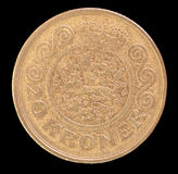 Una coda di 20 corone scandinave conia, pubblicato dalla Danimarca nel 1991 che descrive la stemma nazionale Fotografia Stock