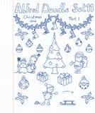 Una colección de Christmass de doodles Foto de archivo