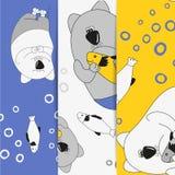 Una colección de ejemplos de la moda de los niños Gatos que sorprenden Fondo del `s de los niños Gato grueso, divertido Sellos de stock de ilustración