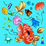 Una colección de flores, hojas, mariposa, ramas Foto de archivo