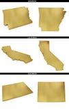 Una colección de formas de oro de los estados americanos Arkansas, California, Colorado de los E.E.U.U. Imagenes de archivo