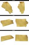 Una colección de formas de oro de los estados americanos Illinois, Iowa, Kansas de los E.E.U.U. Foto de archivo