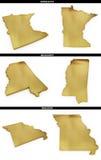 Una colección de formas de oro de los estados americanos Minnesota, Mississippi, Missouri de los E.E.U.U. Imágenes de archivo libres de regalías