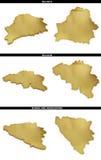 Una colección de formas de oro del europeo indica Bielorrusia, Bélgica, Bosnia y Herzegovina Imagen de archivo