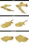 Una colección de formas de oro del europeo indica Croacia, Chipre, República Checa Imagen de archivo libre de regalías