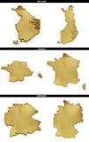 Una colección de formas de oro del europeo indica Finlandia, Francia, Alemania Imagenes de archivo