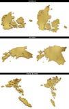 Una colección de formas de oro del europeo indica los estados Dinamarca, Estonia, Faroe Island del europeo Fotografía de archivo libre de regalías