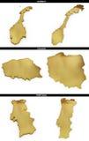 Una colección de formas de oro del europeo indica Noruega, Polonia, Portugal Imagen de archivo libre de regalías