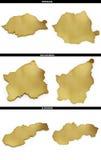 Una colección de formas de oro del europeo indica Rumania, San Marino, Eslovaquia Imagenes de archivo