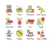 Una colección de historieta moderna colorida resumió los iconos para los diversos juguetes Stock de ilustración